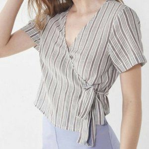 Urban Outfitters Striped Wrap Crop Top